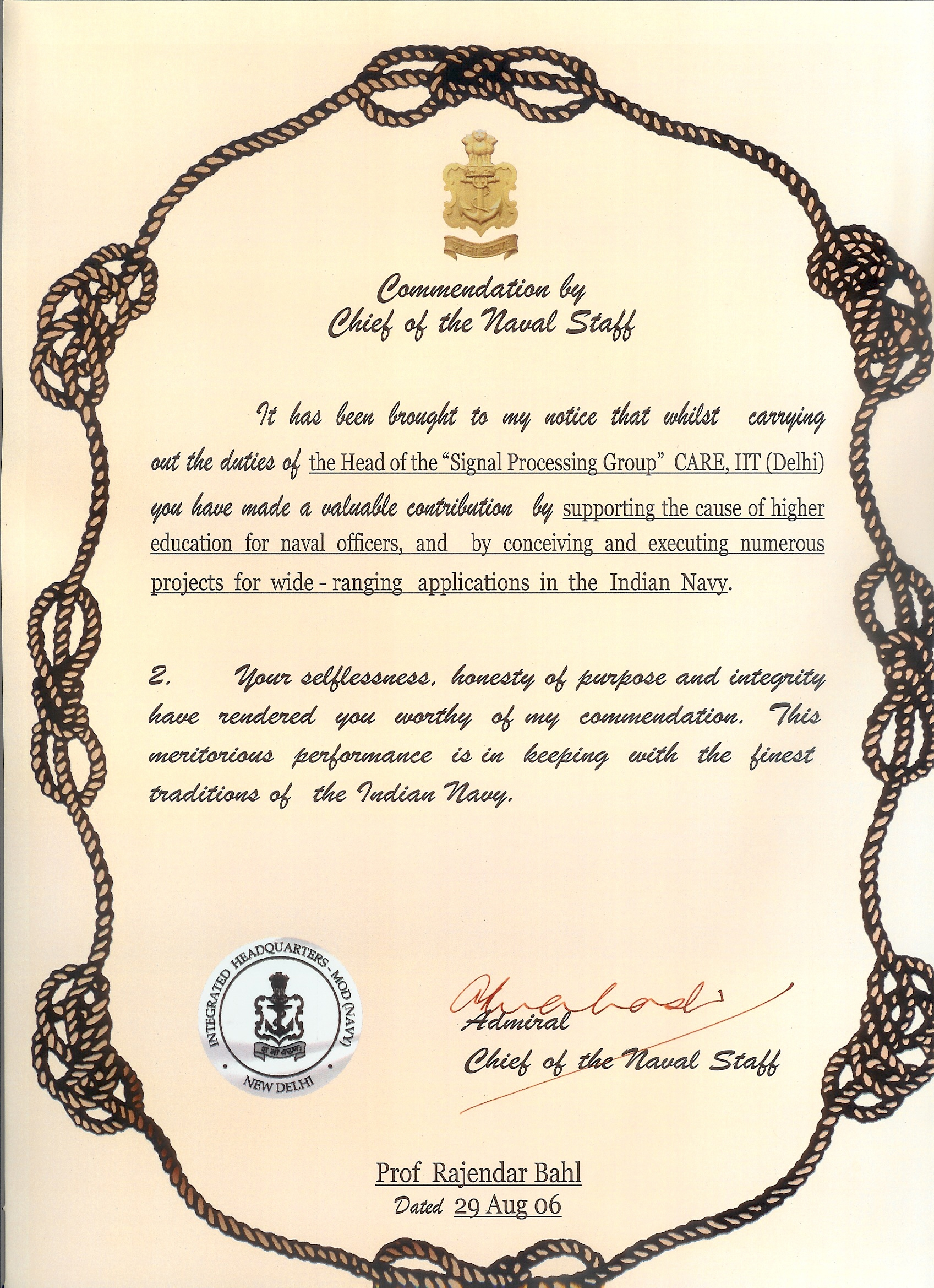 CNS commendation